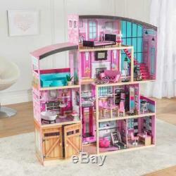 Kidkraft Shimmer Mansion Dollhouse Dollhouse En Bois Convient Barbie Les Poupées De Taille