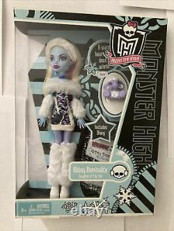Monster High Abbey Bominable Doll With Pet Shiver Wave 1 Exclusive Rare Nouveau