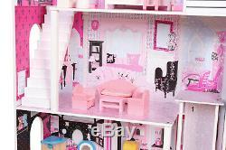 Poupée Enfants En Bois Maison Avec 3 Étages 17pcs Mobiliers Barbie Dollhouse Cottage