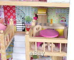 Poupées En Bois Maison De Poupée Traditionnelle Avec 17pcs Furniture Escalier Dh001
