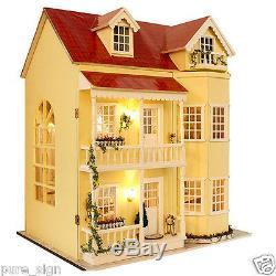 Projet Miniature Diy Kit Artesanat Poupées En Bois Maison Lumières Led Musique Villa