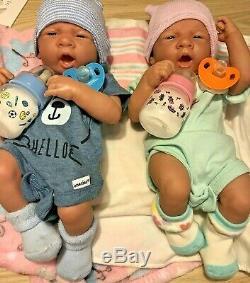 Twins Bébé Reborn Berenguer 14 Preemie Vinyle Prématuré Vie Comme Garçon / Fille