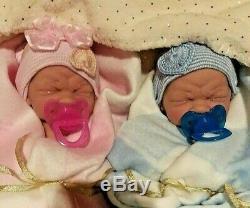 Twins Précieux Prématuré Bébés Garçon Et Une Fille Réaliste 14 Pouces Tous Vinyle