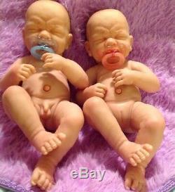 Twins So Cute! Réincarné Premières Larmes Garçon Et Une Fille W / Sucettes Bouteilles Prématuré Poupées